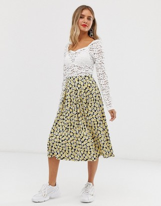 Asos DESIGN midi skirt with box pleats in yellow floral