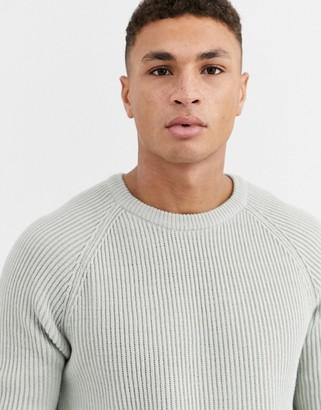 Asos Design DESIGN knitted fisherman rib jumper in light grey