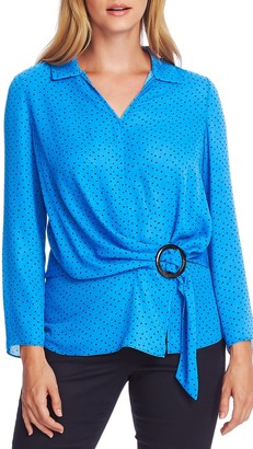 Vince Camuto Ditsy Fragments Long Sleeve Belted Top