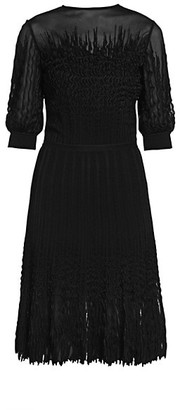 Alexander McQueen Abstract Lace Illusion Midi Dress