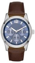 Merona Men's Dial Watch with Brown Strap and Decorative Subdials