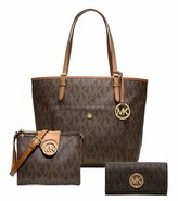 Jet Set 3Pcs Set Michael Kors Stylish Waterproof Mutifunction Jet Set Travel Logo Tote Fulton Small Saffiano Crossbody bag Fulton Carryall Wallet 3Pcs Set