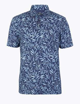 Marks and Spencer Pure Cotton Leaf Print Polo Shirt