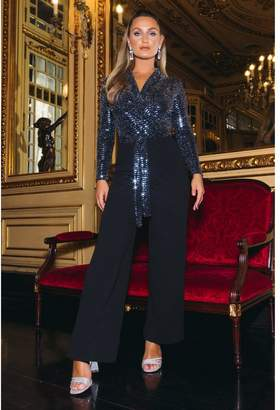 Quiz Sam Faiers Black and Gunmetal Sequin Long Sleeve Jumpsuit