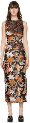 Eckhaus Latta Orange and Black Burnout Velvet Shrunk Dress