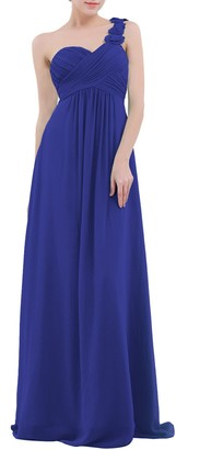 CHICTRY Women's Soft Chiffon One-Shoulder Evening Prom Gown Wedding Bridesmaid Long Dress Blue 6