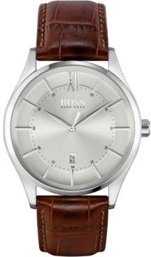 BOSS Men's Distinction Brown Leather Strap Watch 42mm