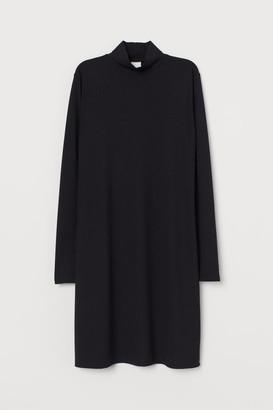 H&M Ribbed Mock-turtleneck Dress - Black