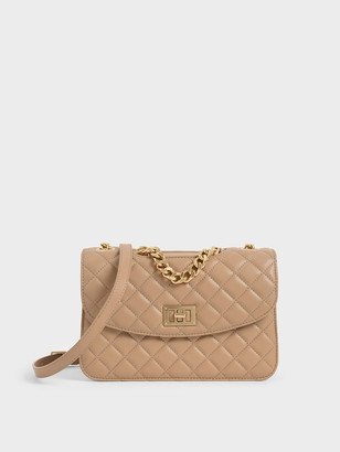 Charles & Keith Quilted Turn-Lock Clutch