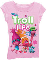 Asstd National Brand Trolls Girls' Troll Life Short Sleeve Graphic T-Shirt with Crystalline