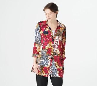 Susan Graver Printed Woven Button Front Big Shirt