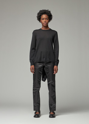 Comme des Garcons Women's Wool Jersey Crewneck Knit With Back Detail in Black Size XS
