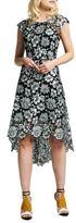 Kay Unger Floral Pattern Asymmetric Dress