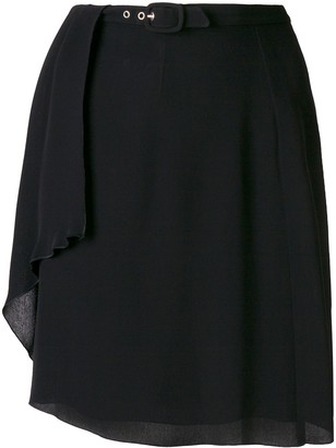 Giorgio Armani Pre-Owned Creased Belted Short Skirt