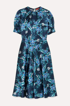 Altuzarra Adeline Floral-print Stretch-silk Satin Midi Dress - Blue