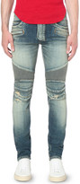 Balmain Biker distressed slim-fit skinny jeans