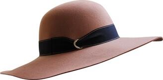 Borges & Scott B&S Premium Julia Ribbon - Wide Brim Ladies Hat - 100% Wool Felt with Ribbon Trim - Water Resistant