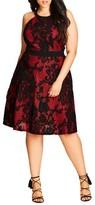 City Chic Plus Size Women's Lace Fit & Flare Dress