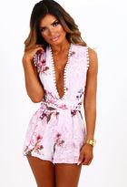Pink Boutique Peony Daze Pink Floral Multi Tie Playsuit