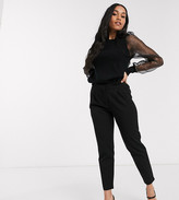 Y.A.S Petite tailored pants with elasticated waist in black
