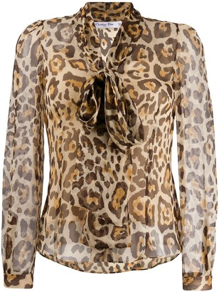 Christian Dior 2000s Pre-Owned Leopard Printed Blouse