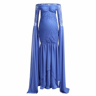 Harpily Photography Maternity Wrap Dress Pregnant Women Mermaid Long Maxi Off Shoulder Gown Floral Lace Long Sleeve V Neck Cocktail Dress for Photo Shoot Wedding Evening Party Blue