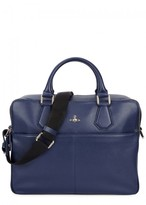 Vivienne Westwood Navy Grained Leather Briefcase