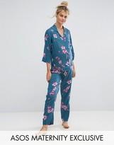 Asos Dark Floral Shirt & Pajama Set