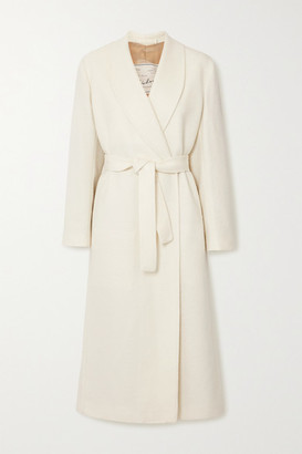 Giuliva Heritage Collection + Net Sustain The Linda Belted Herringbone Wool-blend Coat - White