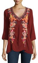 Johnny Was Faith 3/4-Sleeve Embroidered Blouse, Plus Size