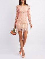 Charlotte Russe Open Back Lace Midi Dress