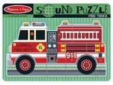 Melissa & Doug ; Fire Truck Sound Puzzle - Wooden Peg Puzzle With Sound Effects (9 pcs)
