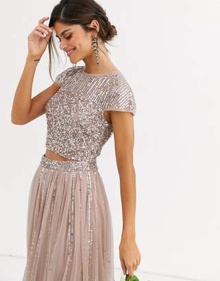 Maya Bridesmaid delicate sequin top co ord in taupe blush-Brown
