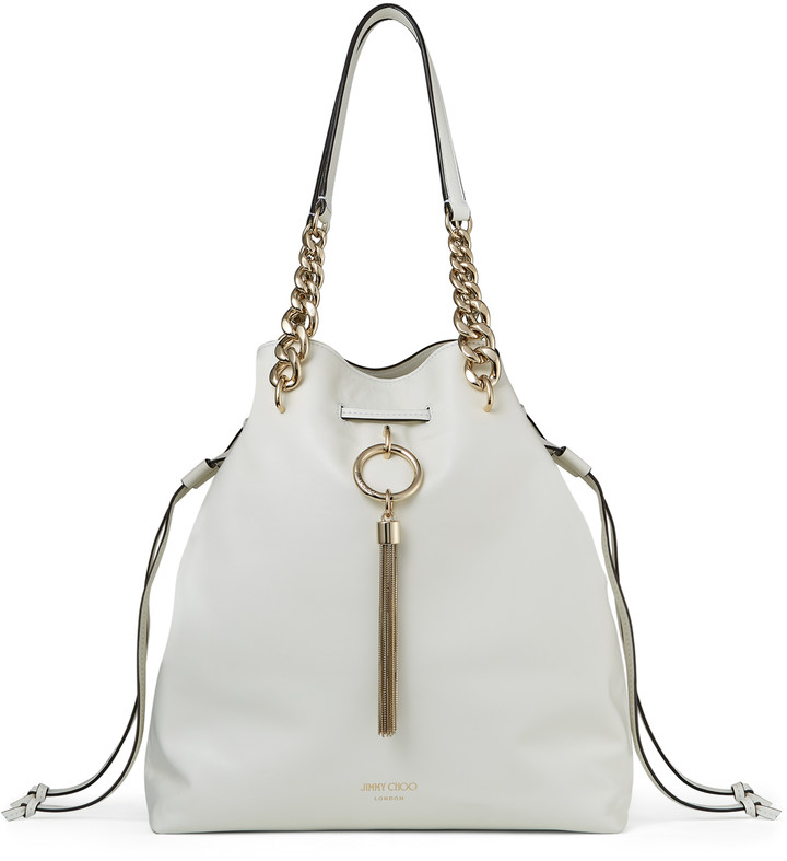 Jimmy Choo CALLIE DRAWSTRING/L Latte Smooth Calf Leather Bucket Bag with Chain Strap