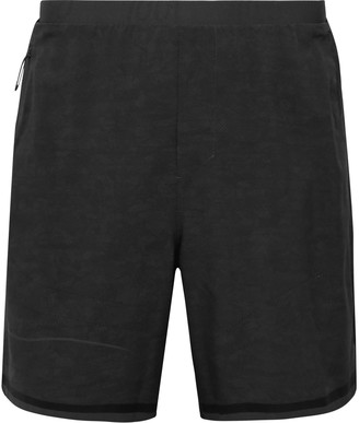 Lululemon Pinnacle Jersey and Mesh-Trimmed Printed Stretch-Shell Running Shorts - Men - Gray