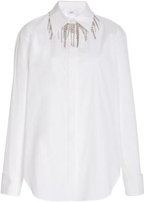 Area Crystal-Embellished Stretch-Cotton Shirt