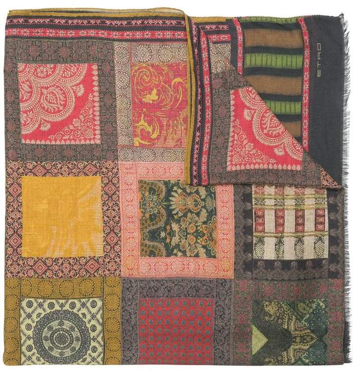 Etro tapestry patchwork scarf