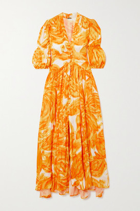 Cult Gaia Willow Printed Crepe De Chine Midi Dress - Orange