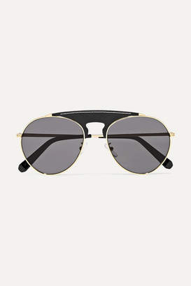Loewe Sasha Aviator-style Gold-tone And Leather Sunglasses - Black