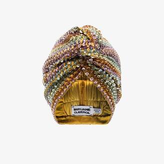 MaryJane Claverol multicoloured Malibu beaded sequin turban