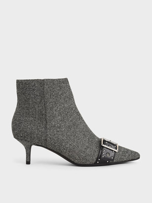 Charles & Keith Woven Fabric Studded Ankle Boots