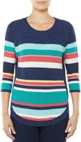 Allison Daley 3/4 Sleeve Striped Rib Pullover Sweater