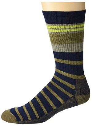 Smartwool Hike Light Striped Crew (Black) Men's Crew Cut Socks Shoes