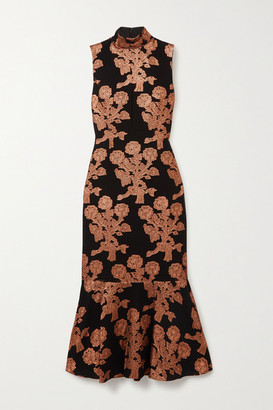Andrew Gn Metallic Fil Coupe Silk-blend Midi Dress - Copper