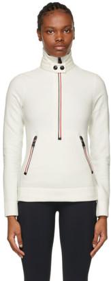 MONCLER GRENOBLE White Zip Mock Polo Neck Sweatshirt