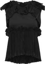 Goen J Pleated ruffled satin top