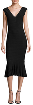 Jay Godfrey Deep V Neck Flounce Midi Dress
