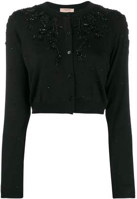 Twin-Set cropped bead-embellished cardigan