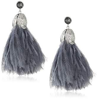 Badgley Mischka Womens Blue Feather Drop Earrings