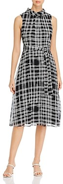 Karl Lagerfeld Paris High Neck Grid Print Dress